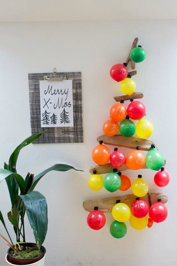 How many sleeps left until Christmas? 11 stylish DIY advent calendars to help you start the countdown the Christmas. Colorful balloon advent calendar via Look What I Made.