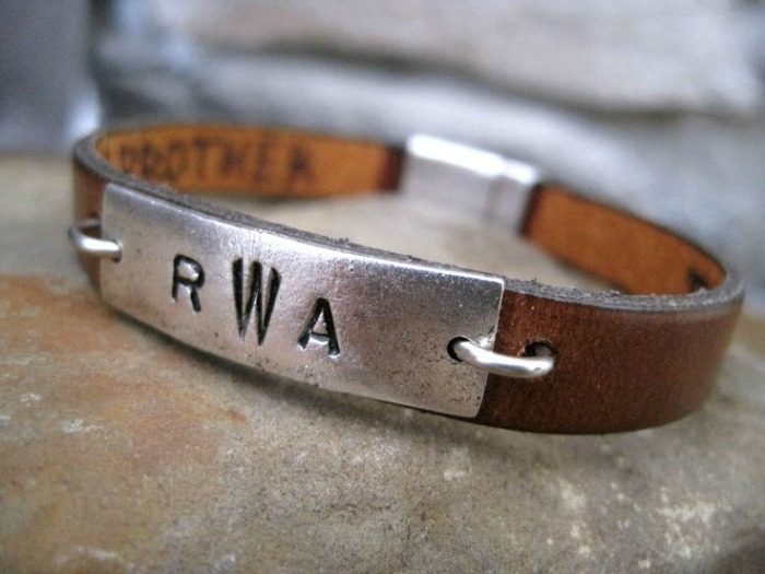 Gifts for 8 year olds - A personalized leather bracelet with a hidden message on the inside