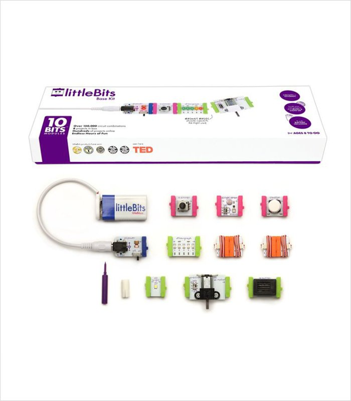 Cool gift ideas for an 8 year old - littleBits electronics base kit makes learning about electronics a whole lot easier.