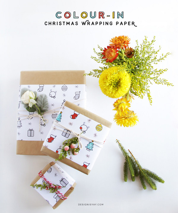 Make your own gift wrap - color-in Christmas wrapping paper