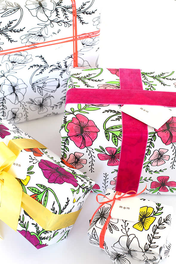 Make your own gift wrap - printable coloring floral paper