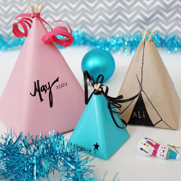 Make your own gift wrap - teepee gift wrapping