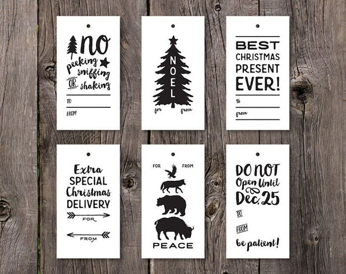 Printable holiday gift tags - black and white printable gift tags