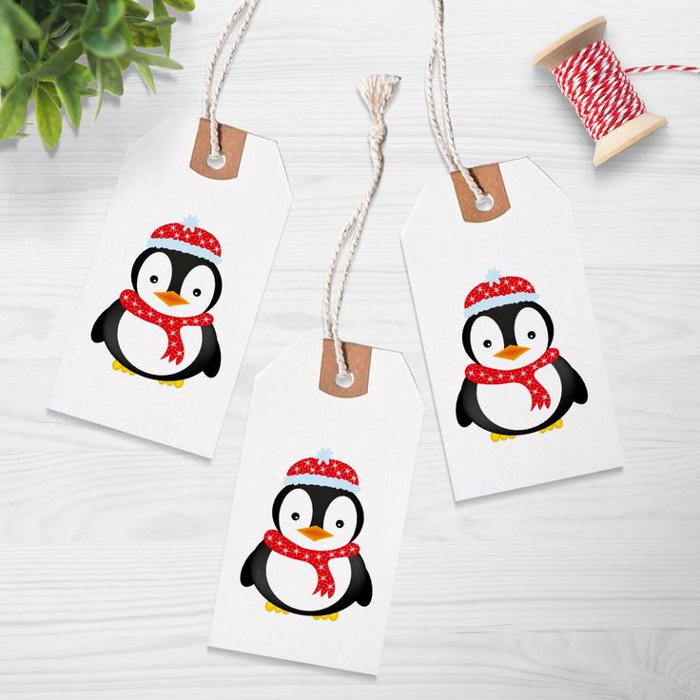 Printable holiday gift tags - cute penguin gift tags