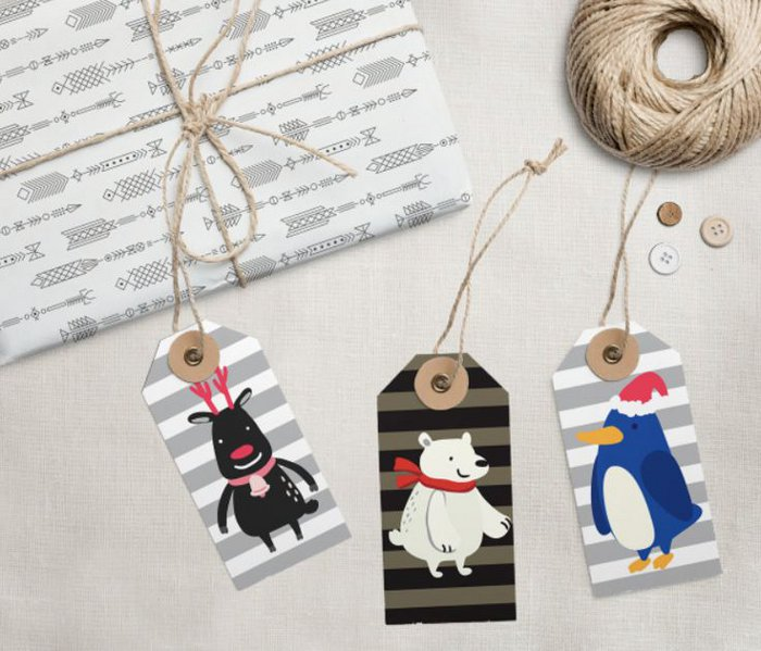 Printable holiday gift tags - funny animal gift tags