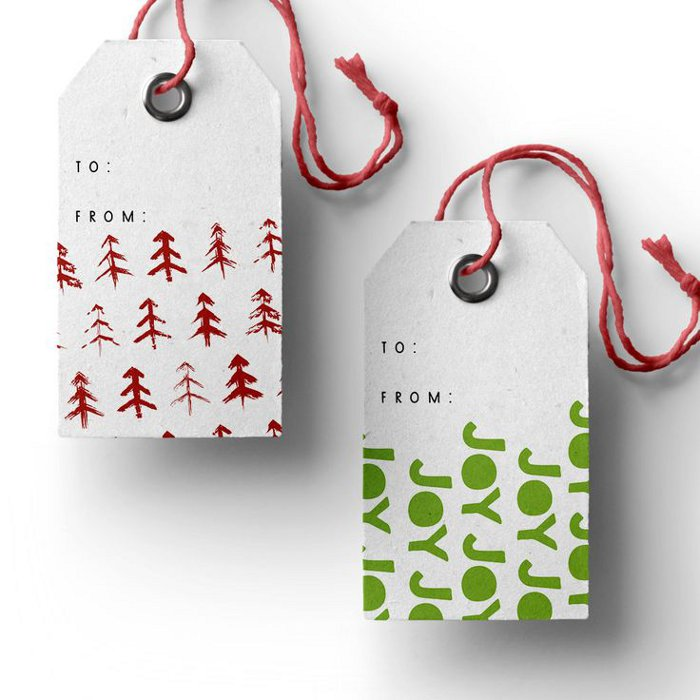 Printable holiday gift tags - joy and trees gift tags