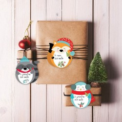 Printable holiday gift tags - woodland friends Christmas gift tags