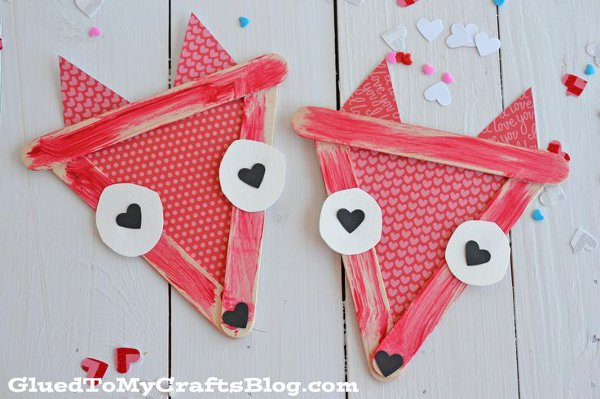 Valentine craft ideas for kids - popsicle stick valentine foxes
