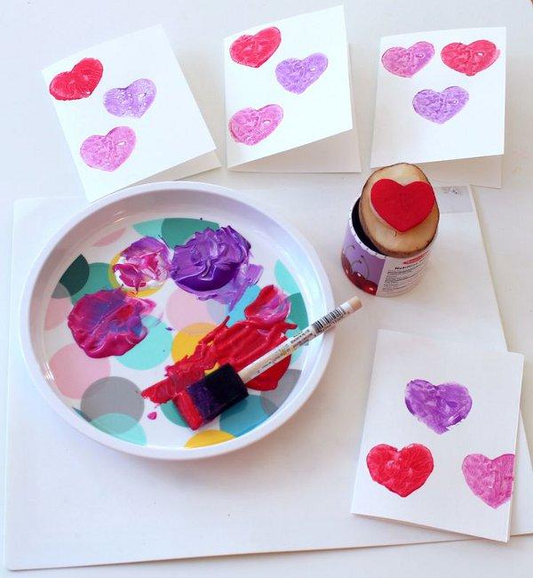 Valentine craft ideas for kids - potato stamped valentines card craft
