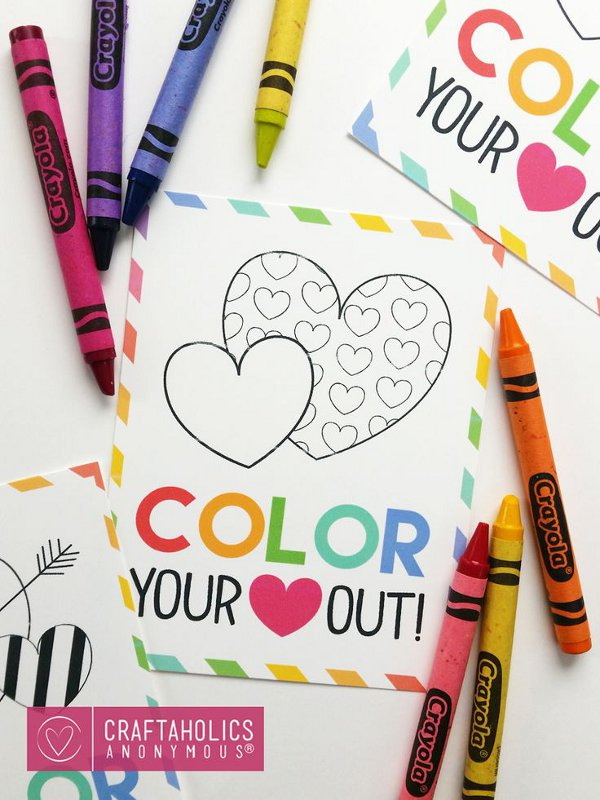 Valentine craft ideas for kids - valentines coloring printable