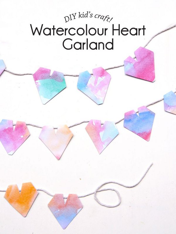 Valentine craft ideas for kids - watercolor heart garland