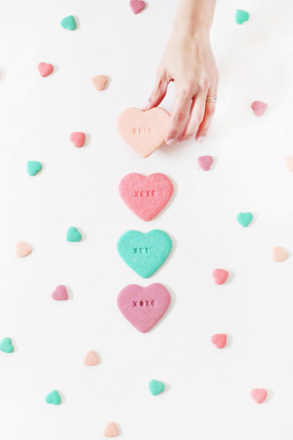Valentine treats for kids - diy conversation heart sugar cookies