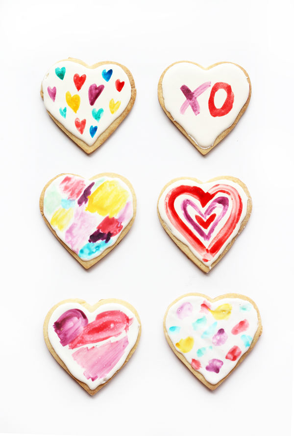 Valentine treats for kids - watercolor heart cookies