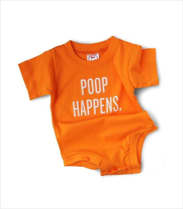 Poop gifts for kids of all ages - onesise with poop happens slogan
