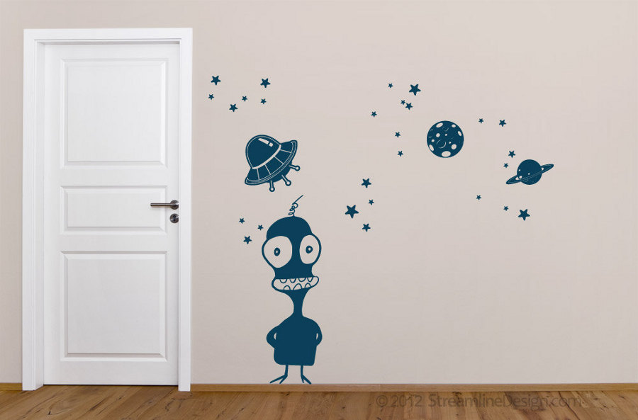 Space themed wall decals - Alien removable vinyl wall art