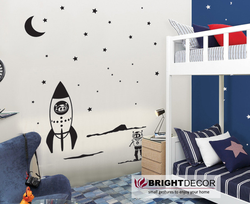 Space themed wall decals - Moon explorer wall decal