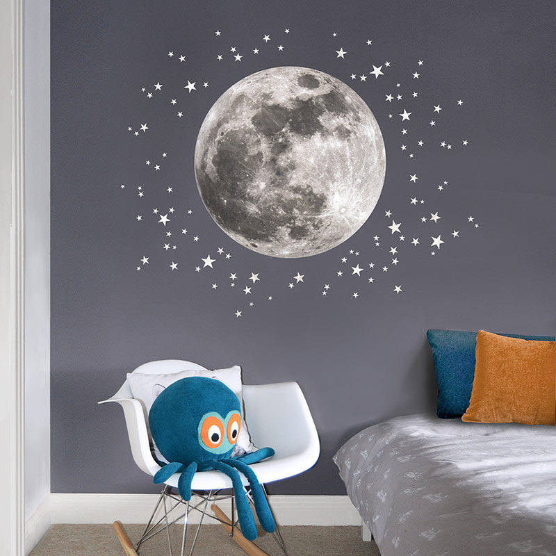 10 space themed wall decals for curious little explorers for Space themed fabric