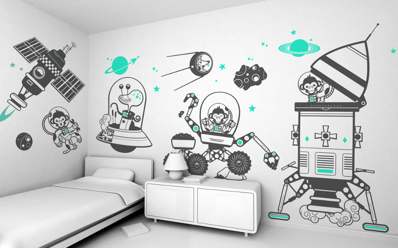 Space themed wall decals - Outer space themed decal