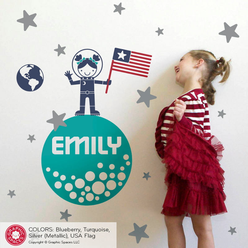 Space themed wall decals -Personalized moon walk decal