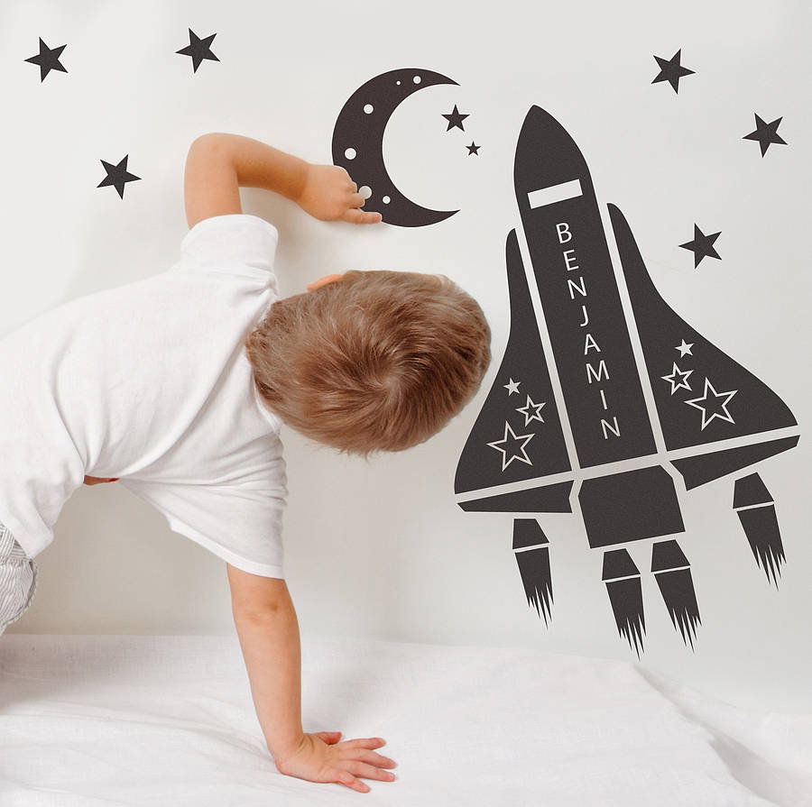 Space themed wall decals - Personalized space shuttle wall stickers