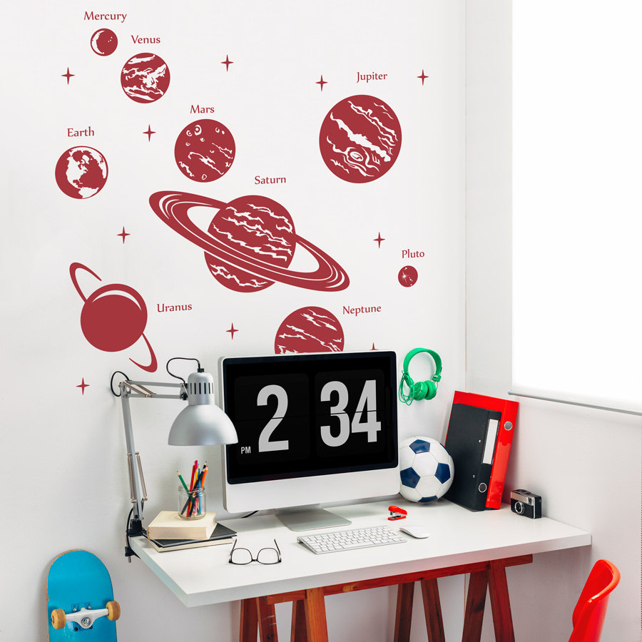 Space themed wall decals - Solar system wall decal
