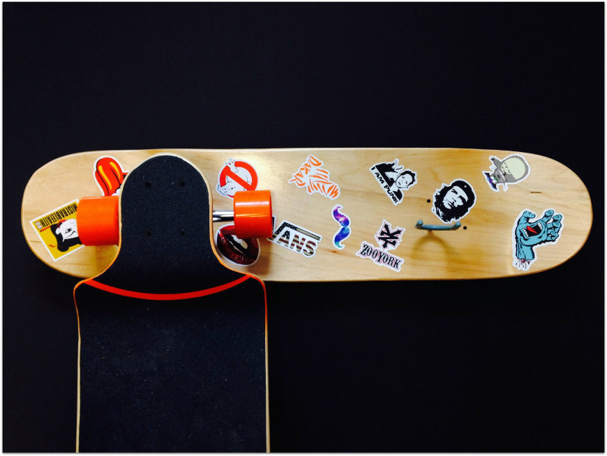Stakeboard storage - DIY sticker skateboard rack