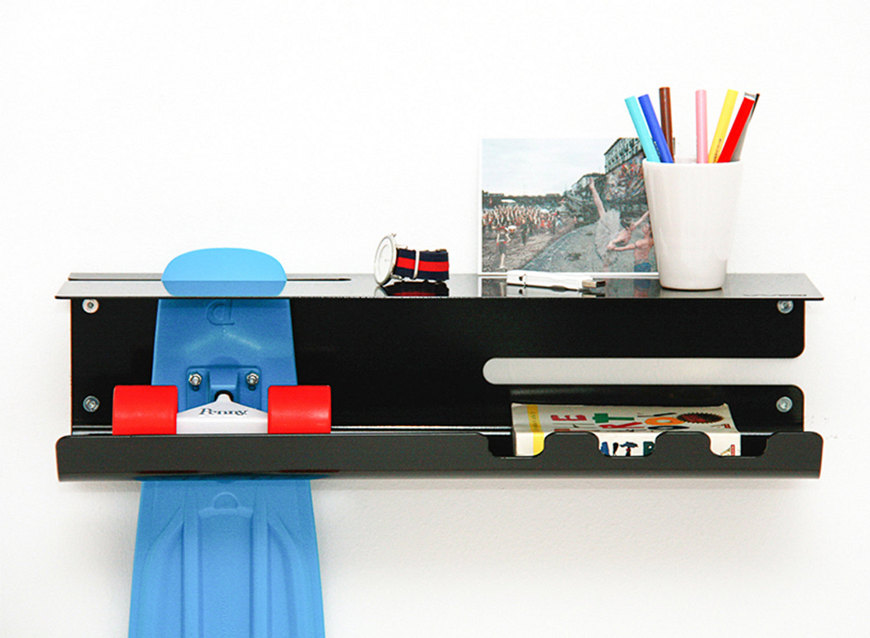 Multipurpose stakeboard storage - wall ride wall mounted skateboard rack