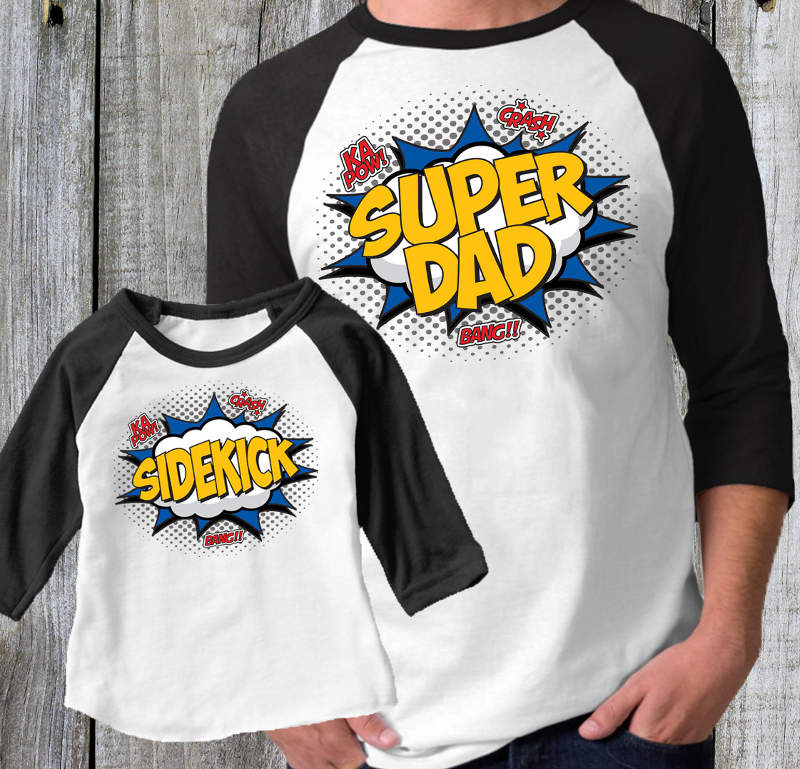 Father Daughter Shirts - Super Dad and Sidekick Tees