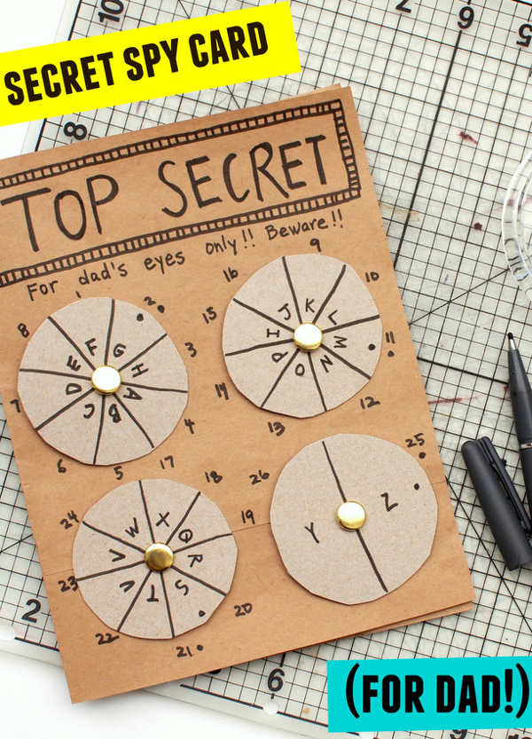 Things to make for fathers day - secret spy card for dad