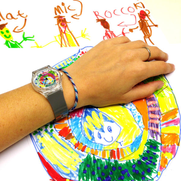 Things to make for fathers day - childs art drawing turned into a watch