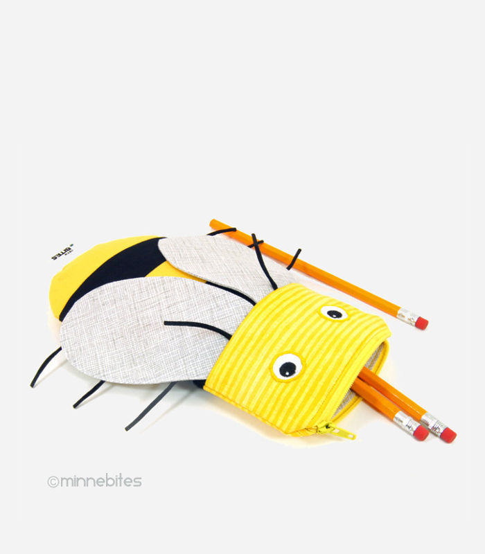 An adorable honey bee pencil case for the nature loving kiddo makes a great back to school gift.