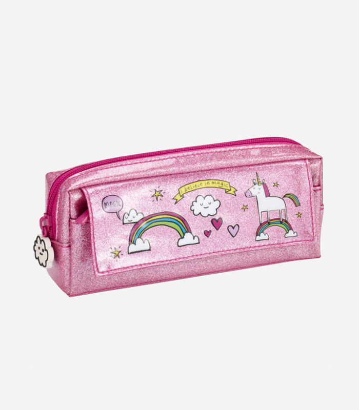 Pencil Cases for Kids-Unicorn pink multi pencil case
