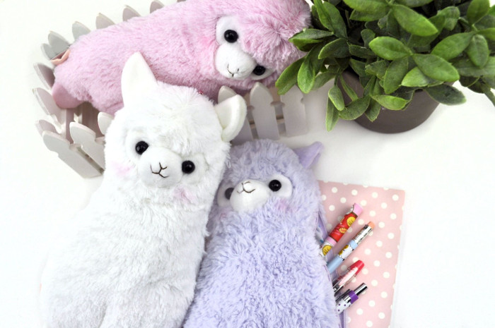 Pencil cases for kids make awesome backtoschool gifts, especially if they're super cute and fluffy like these Alpaca cases