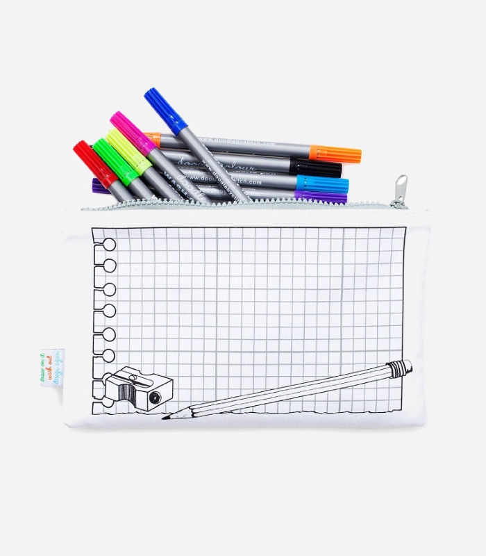 Cool pencil cases for kids that you can doodle all over, then wipe clean.