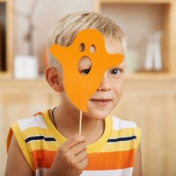 Kids Halloween crafts - boy with orange mask