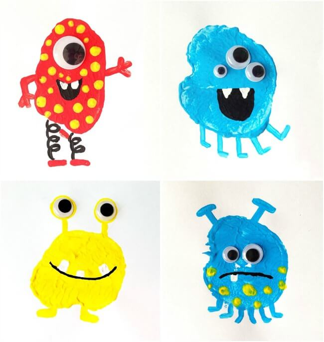 Easy Kids Halloween Crafts - Potato Print Monsters (Via Mollymoo Crafts)