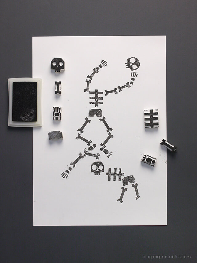 Easy Kids Halloween Crafts - Stamping Skeletons (via Mr Printables)
