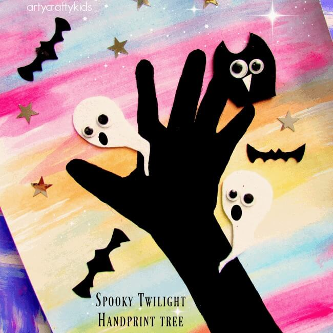 Easy Kids Halloween Crafts - Spooky Twilight Handprint Tree (via Arty Crafty Kids)