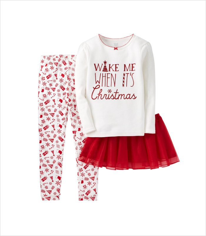 Warm, Fuzzy and Totally Cute Christmas Pajamas for Kids - Complete with twirly skirt
