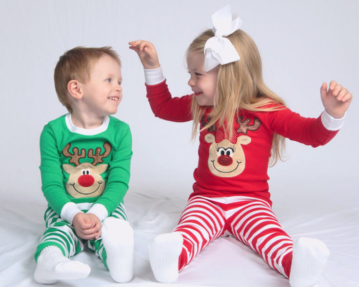 Warm, Fuzzy and Totally Cute Christmas Pajamas for Kids - Gotta have a renideer face and candy stripped pants