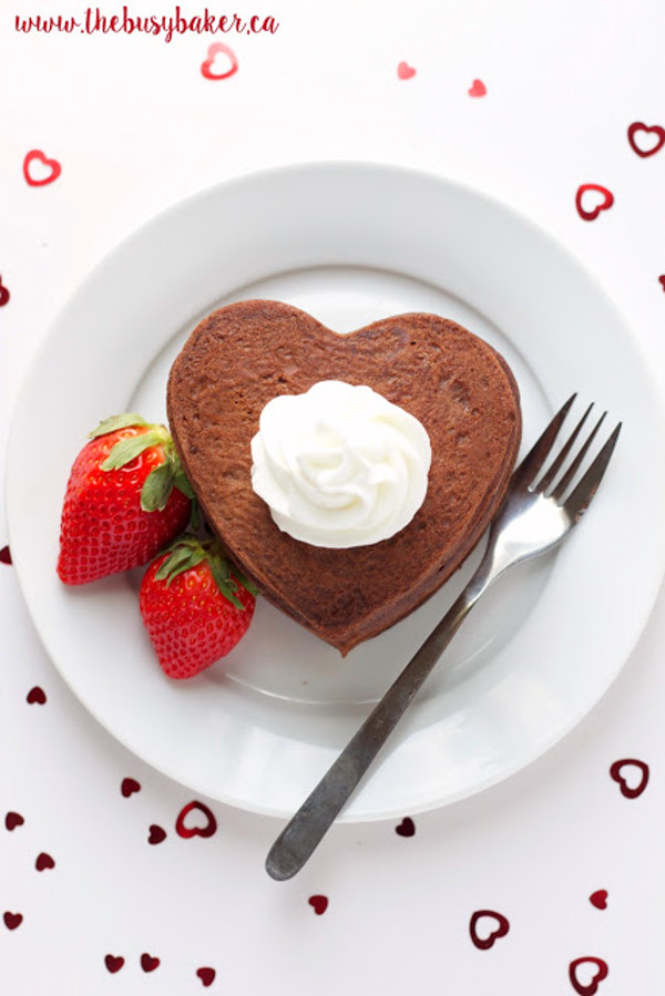 11 Heart Shaped Snacks and Treats Featuring Chocolate Heart Pancakes (via The Busy Baker)