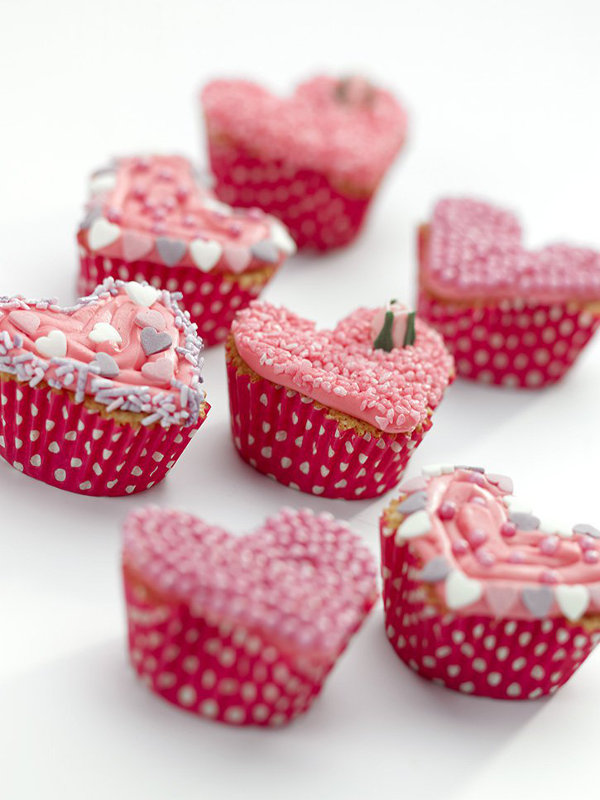 11 Heart Shaped Snacks and Treats Featuring Valentine's Pink Heart Shape Cupcakes (via In the Playroom)