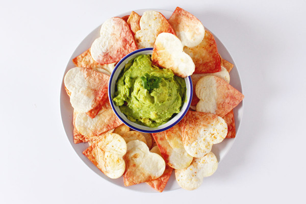11 Heart Shaped Snacks and Treats Featuring Valentine's Dip Dye Heart Tortilla Chips (via Fish & Bull)