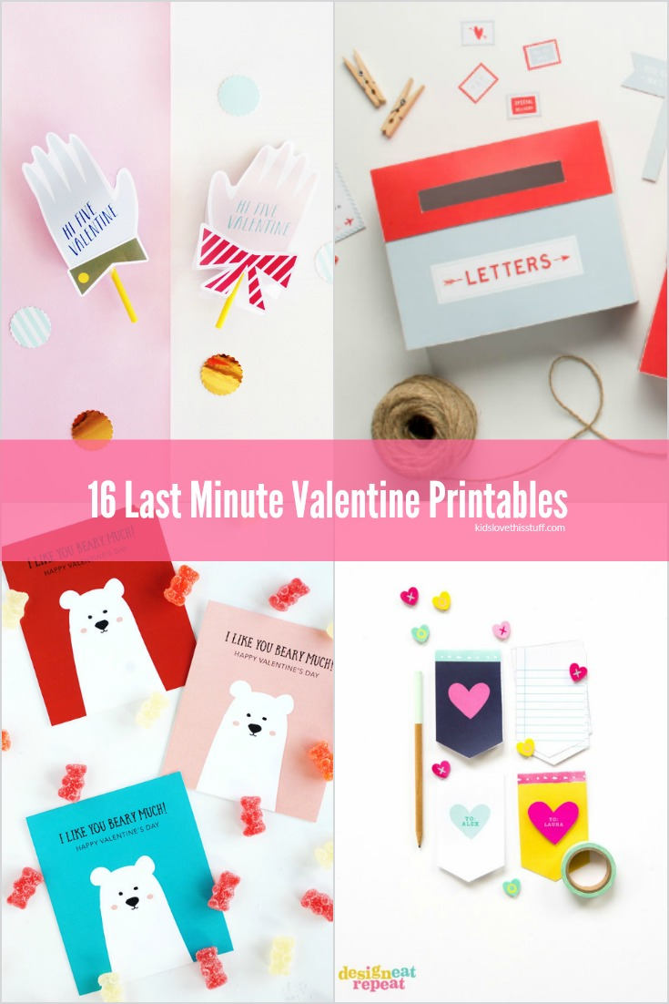 Left it too late to find the perfect Valentine for the kiddos? Don't sweat it - 16 Last Minute Valentine Printables