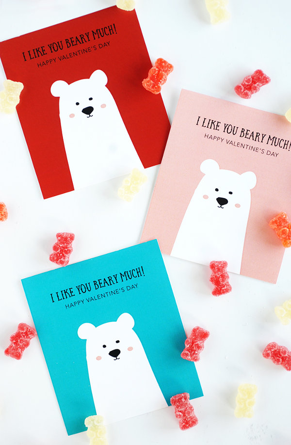 16 Last Minute Valentine Printables featuring 'I Like You Beary Much' Printable Card (via Alice and Lois)