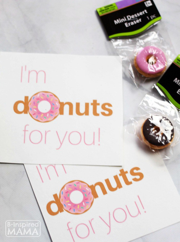 16 Last Minute Valentine Printables featuring 'I'm Donuts For You' Printable (via B-Inspired Mama)