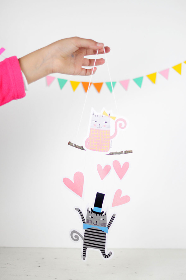 16 Last Minute Valentine Printables featuring Valentine Cat Mobile (via Hello Wonderful)