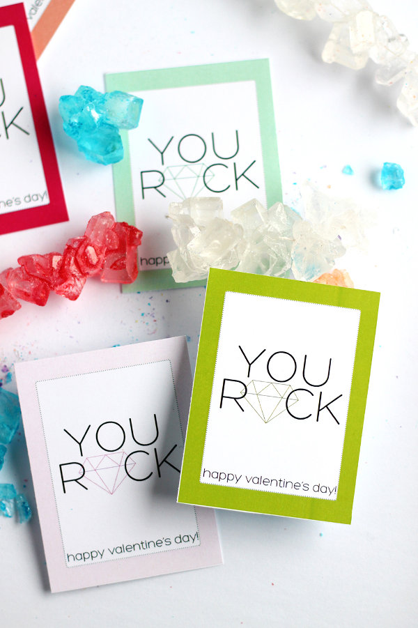 16 Last Minute Valentine Printables featuring 'You Rock' Valentine Printable (via Squirrelly Minds)