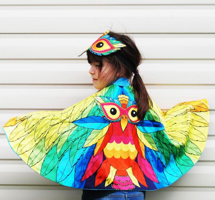 Animal costumes for kids - rainbow bird costume