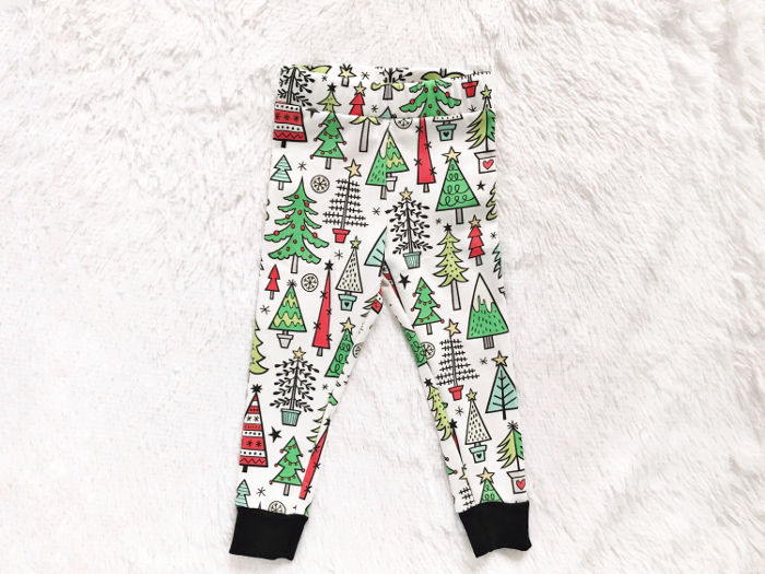 Christmas leggings for toddlers - organic trees